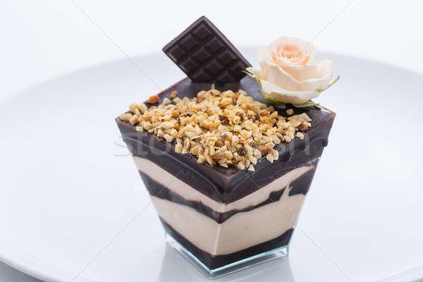 Gâteau au chocolat congelés yogourt noix tasse plaque Photo stock © bezikus