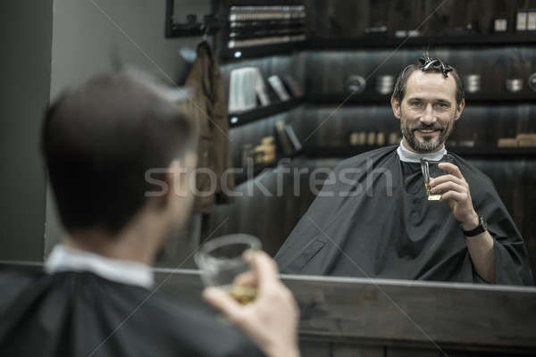 Pause for drink in barbershop Stock photo © bezikus