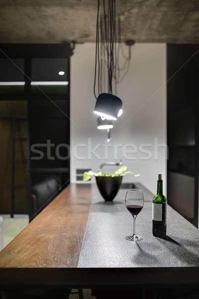 キッチン ロフト スタイル 島 インテリア ボトル ストックフォト © bezikus