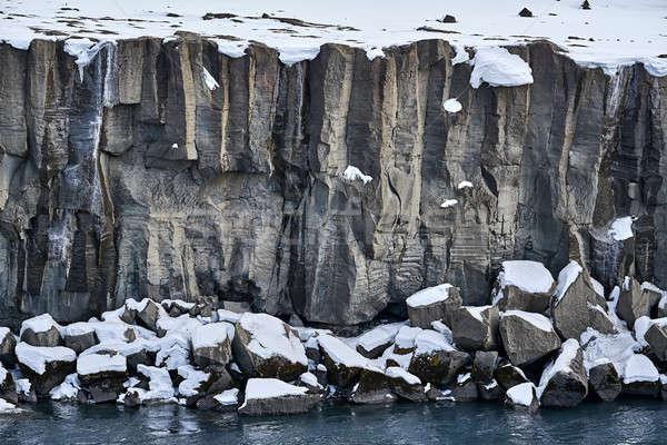 Manzara nehir kıyı dik dondurulmuş İzlanda Stok fotoğraf © bezikus