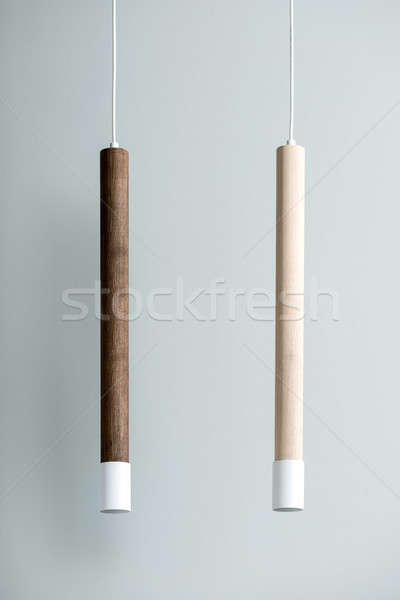 Suspendu bois tube lampes métal Photo stock © bezikus