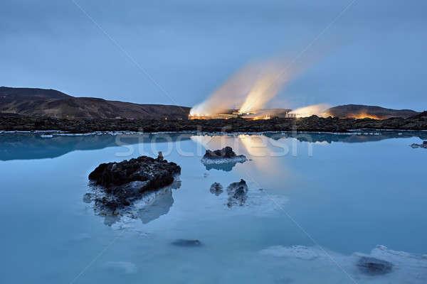 Azul Islândia noite edifícios montanhas Foto stock © bezikus