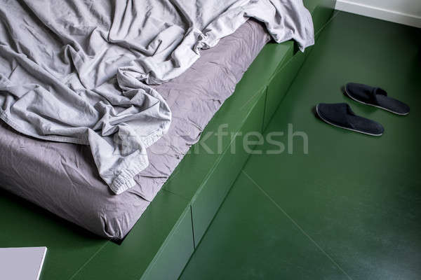 Bedroom in modern style in green color Stock photo © bezikus