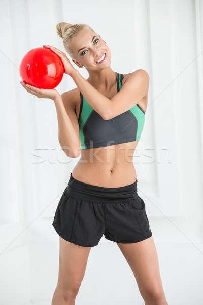 Studio portret mooie ritmisch gymnastiek Rood Stockfoto © bezikus