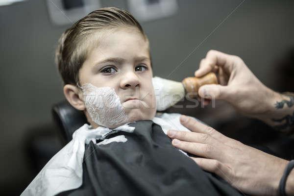 Humorous shaving of little boy Stock photo © bezikus