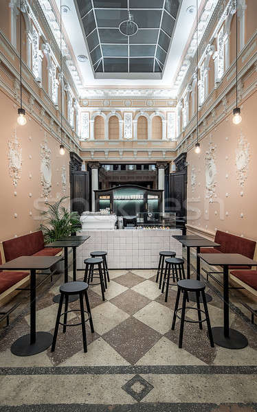 Restaurante estuco café antiguos blanco paredes Foto stock © bezikus