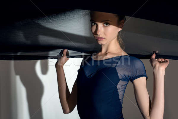 Portrait of the young dancer with a nice black veil cloth Stock photo © bezikus