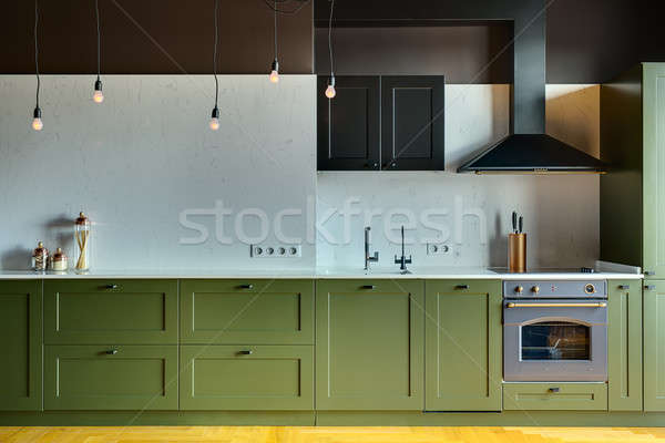 современный стиль кухне свет раковина печи Сток-фото © bezikus