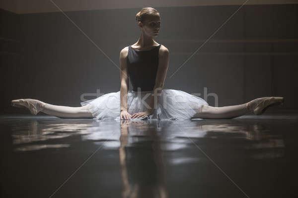 Seated ballerina in the class room Stock photo © bezikus