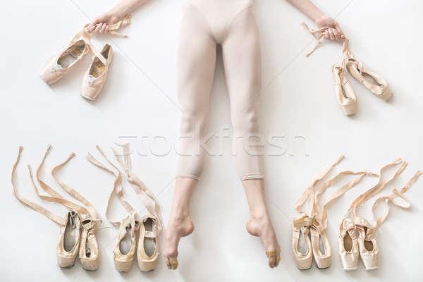 Stockfoto: Ballerina · studio · mooie · benen
