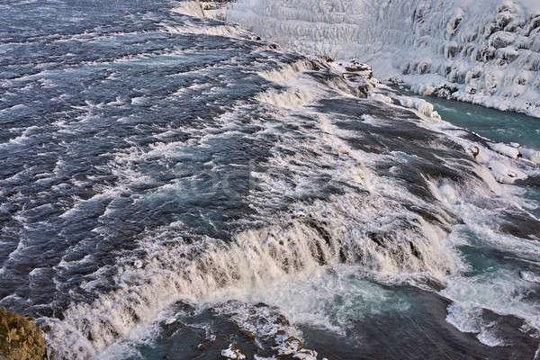 Krajobraz szorstki rzeki zamrożone brzegu widok z góry Zdjęcia stock © bezikus