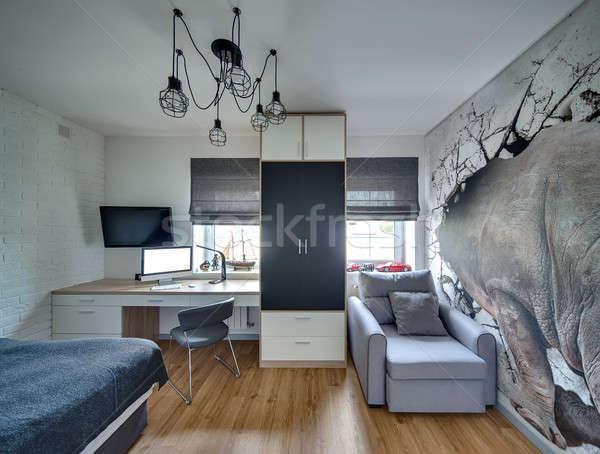 Stile moderno camera da letto luce muri piano Windows Foto d'archivio © bezikus