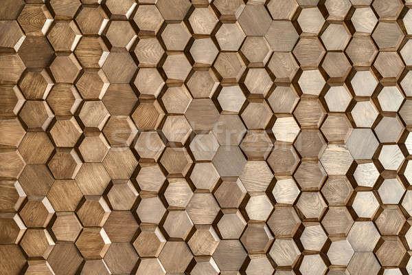 Mintázott fából készült fal bent vízszintes textúra Stock fotó © bezikus