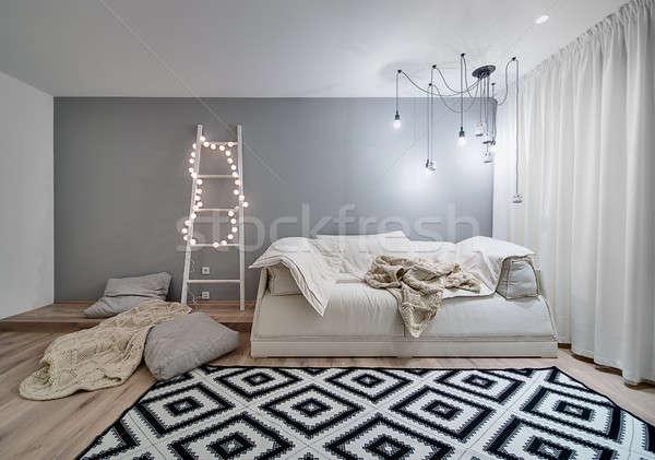 Muri Interni Grigi : Interni · stile · moderno · stanza · bianco · grigio · muri foto d