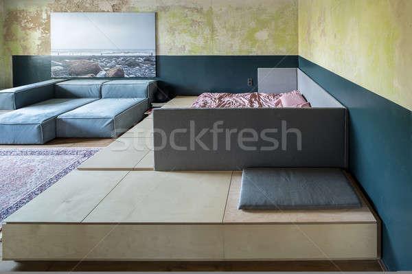 Yatak odası çatı katı stil şık duvarlar Stok fotoğraf © bezikus