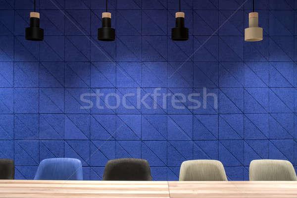 会議室 青 壁 絞首刑 ランプ 会議室 ストックフォト © bezikus