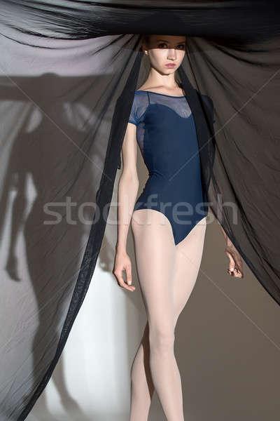 Porträt jungen Tänzerin nice schwarz Schleier Stock foto © bezikus