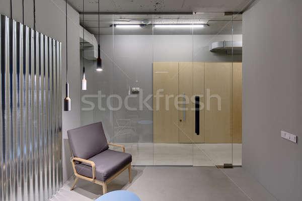 Iroda padlás stílus belső szürke falak Stock fotó © bezikus