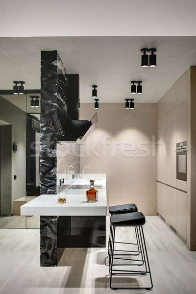 Stok fotoğraf: Modern · tarzda · mutfak · ada · siyah · mermer · duvar