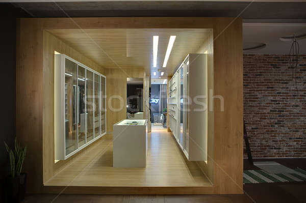 Vestidor elegante armario blanco estantería Foto stock © bezikus