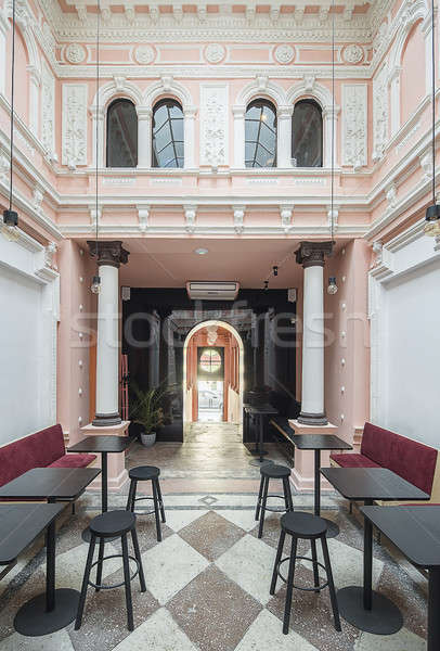 Restaurant stuc antique blanche rose murs Photo stock © bezikus