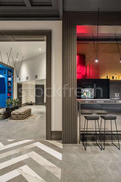 Stijlvol interieur hotel moderne gang bar Stockfoto © bezikus