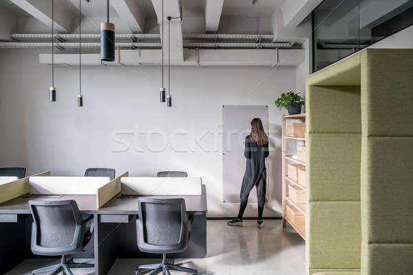 Elegáns iroda padlás stílus szürke falak Stock fotó © bezikus
