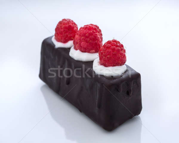 chocolate glaze cake with raspberry Stock photo © bezikus