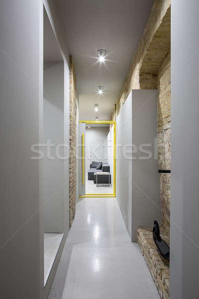 廊下 ロフト スタイル ランプ レンガ ストックフォト © bezikus