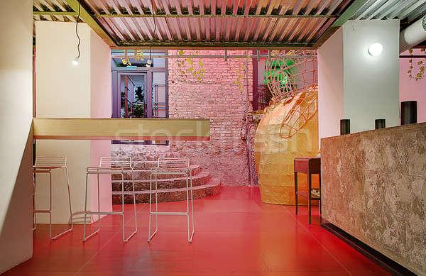 Cafe vliering stijl stijlvol muur witte Stockfoto © bezikus