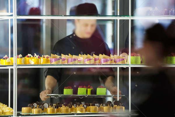 Coloré gâteaux confiserie belle verre tablettes Photo stock © bezikus