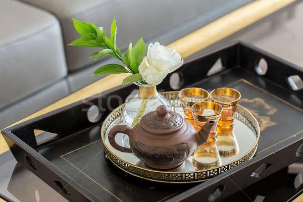 Fából készült tálca teáskanna szemüveg fém tányér Stock fotó © bezikus