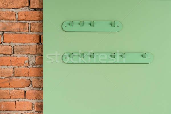 Staal groene metalen kleur paneel muur Stockfoto © bezikus