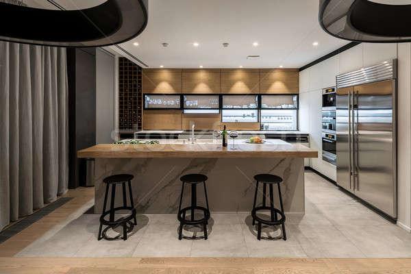 современных кухне современный стиль свет стен Сток-фото © bezikus