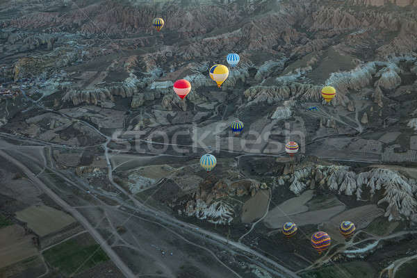 Air balloons above roads in valley Stock photo © bezikus