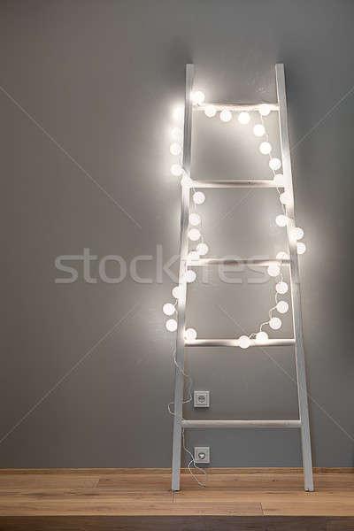 лестнице гирлянда ярко сфере Сток-фото © bezikus