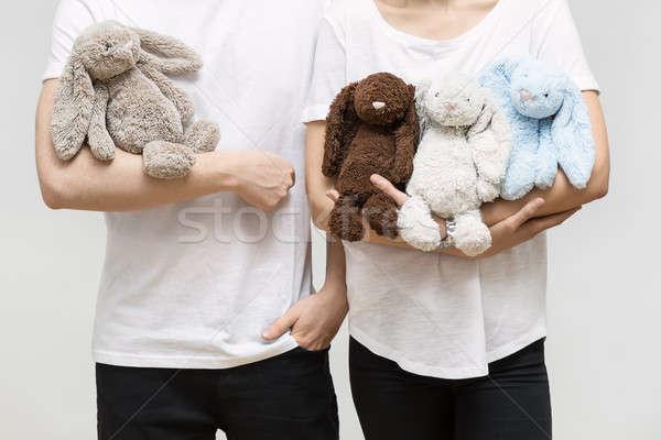 Couple jouet lapins homme femme blanche Photo stock © bezikus