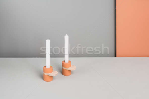 Colorful candlesticks with wooden parts Stock photo © bezikus