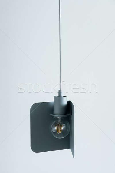 Hanging metal gray-blue edison lamp Stock photo © bezikus