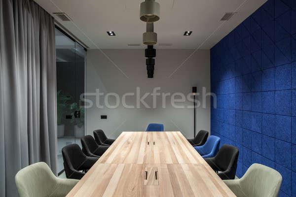 şık konferans salonu gri mavi duvarlar ofis Stok fotoğraf © bezikus