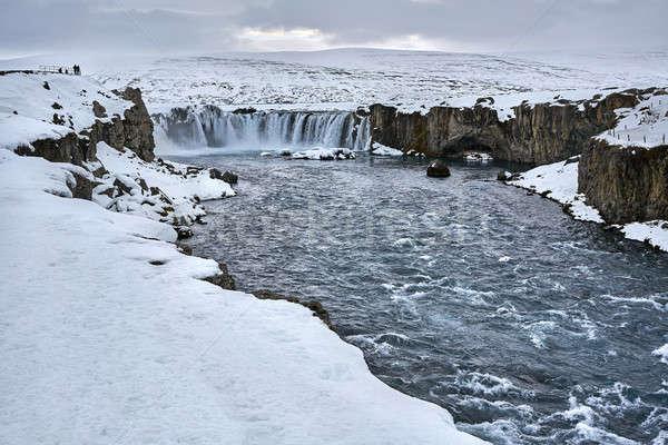 Landschap waterval mooie ruw rivier bevroren Stockfoto © bezikus