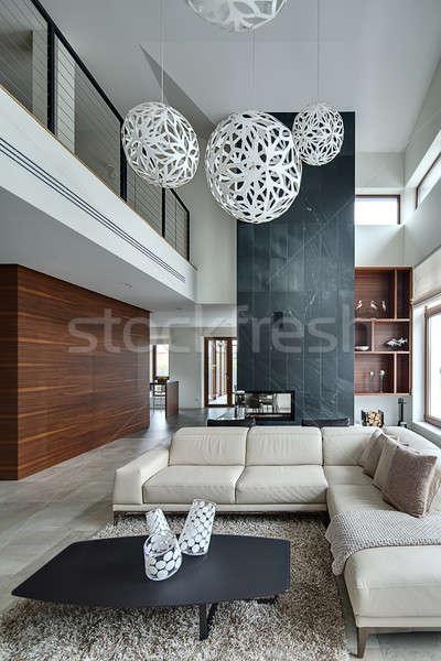 Interior estilo moderno ouvir luz paredes grande Foto stock © bezikus