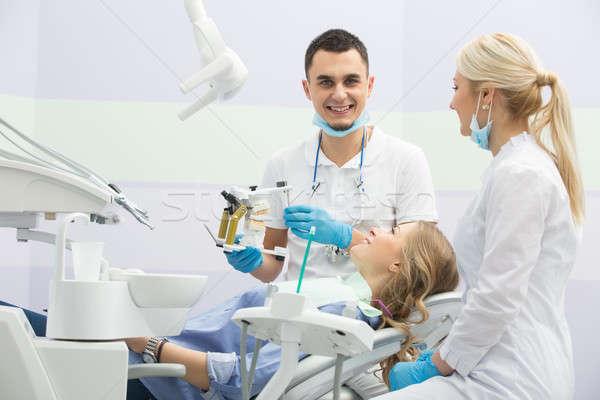 Girl in dentistry Stock photo © bezikus