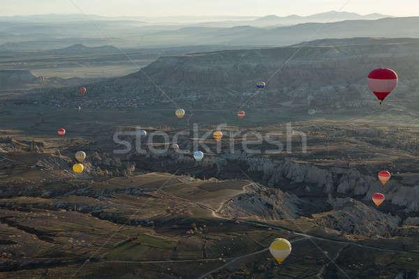 Air balloons above the valley Stock photo © bezikus