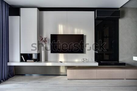 Interni stile moderno stanza tv bianco muro Foto d'archivio © bezikus