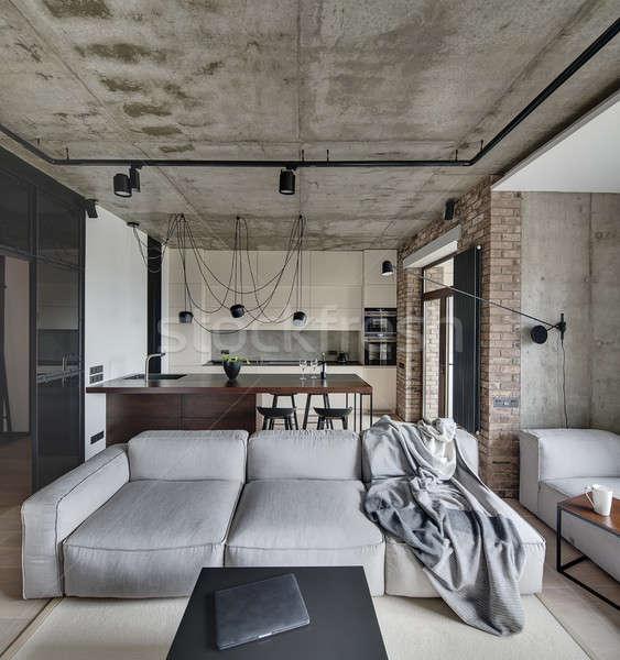 Chambre grenier style living cuisine concrètes Photo stock © bezikus