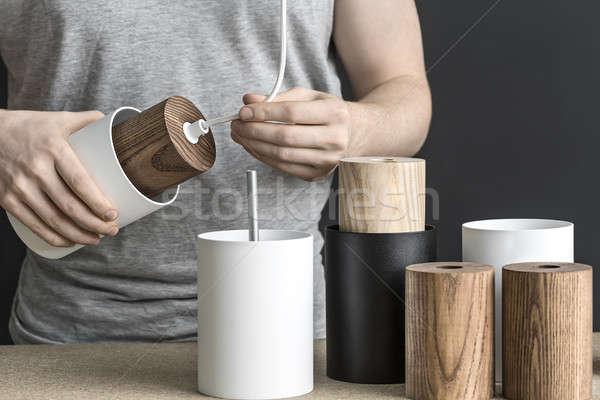 Assembling of lamp in workshop Stock photo © bezikus
