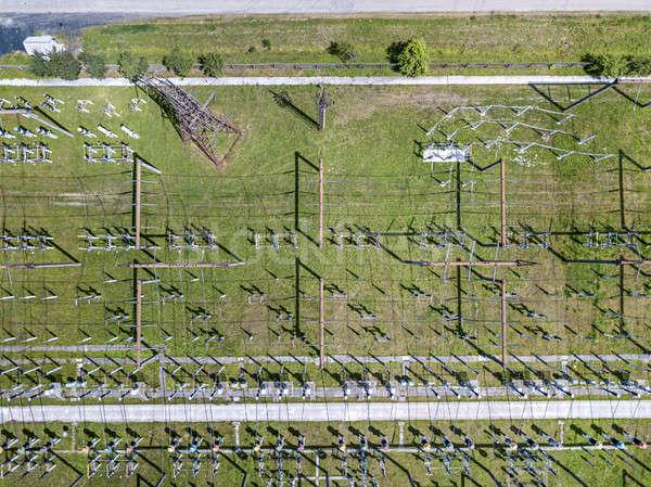 Panoramic view at power lines Stock photo © bezikus