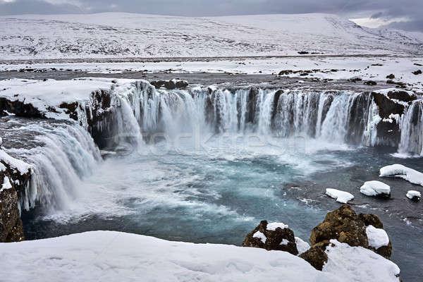 Panorama cascata meraviglioso congelato neve montagna Foto d'archivio © bezikus
