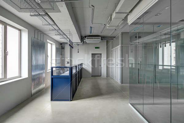 Ofis çatı katı stil mavi Metal resepsiyon Stok fotoğraf © bezikus